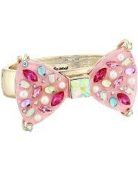 Betsey Johnson - Bow Hinged Bangle Bracelet (pink) Bracelet - Lyst
