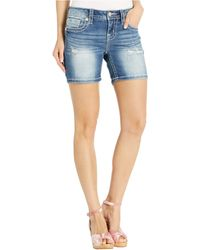 Miss Me Mid-rise Mid Shorts In Dark Blue
