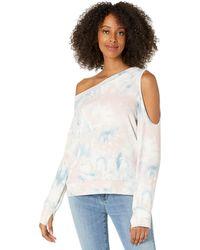 Michael Lauren Link Long Sleeve Scoop Neck Off Shoulder Pullover Sweatshirt - Multicolor