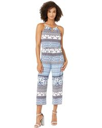 6efda8e437a Donna Morgan - Halter Neck Printed Full-length Jersey Jumpsuit (white lapis  Blue