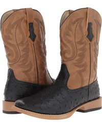 Roper Ostrich Print Square Toe Cowboy Boot - Brown