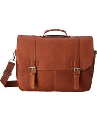 Kenneth Cole Reaction Colombian Leather - Flapover Portfolio/computer Case - Brown