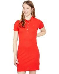 Lacoste Short Sleeve Slim Fit Stretch Pique Polo Dress - Red