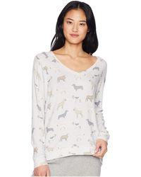 Pj Salvage - Raining Cat And Dogs Sweater (light Grey) Women's Sweater - Lyst