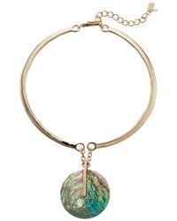 Robert Lee Morris - Blue Shell Oval Pendant Sculptural Necklace (blue Mop) Necklace - Lyst