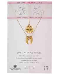 Dogeared - Walk With An Angel, Two Charm Necklace Compass And Angel Wing Scalpular - Lyst