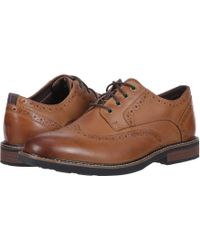 Nunn Bush - Oakdale Wingtip Oxford With Kore Walking Comfort Technology (black Tumbled) Men's Lace Up Wing Tip Shoes - Lyst