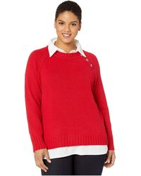 Lauren by Ralph Lauren Plus Size Shirt-underlayer Sweater - Red