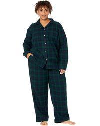 L.L. Bean Plus Size Scotch Plaid Flannel Pajamas Plaid - Black