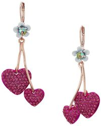 Betsey Johnson - Fuchsia Double Heart Drop Earrings (pink) Earring - Lyst