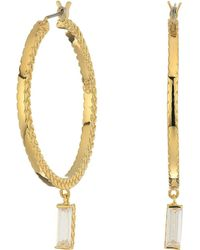 Cole Haan - Metal Hoop With Cubic Zirconia Baguette Drop Earrings (gold/clear Cubic Zirconia) Earring - Lyst