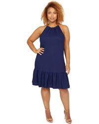 MICHAEL Michael Kors Pucker Chain Halter Dress - Blue