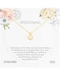 Dogeared - Bridesmaid Flower Card Large Bezel Pearl Pendant Necklace (gold Dipped) Necklace - Lyst