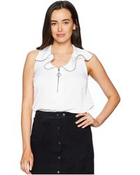 Kenneth Cole - Zipped Front Flouncy Sleeve Top (black) Women's Clothing - Lyst