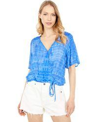 Bella Dahl Flutter Sleeve Smocked Top Clothing - Blue