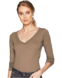 Lamade - Fitted V-neck Tee (white) Women's Long Sleeve Pullover - Lyst