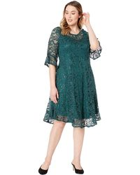 Kiyonna - Sophia Sequin Lace Dress (emerald City) Women's Clothing - Lyst