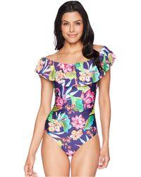 La Blanca - Bora Bora Off The Shoulder One-piece (midnight) Women's Swimsuits One Piece - Lyst
