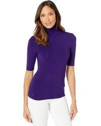 Lauren by Ralph Lauren Stretch Turtleneck Top - Purple