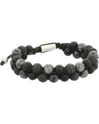 Steve Madden Stainless Steel Garnet Beaded Bracelet - Black