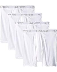 Hanes Core Cotton Platinum Boxer Briefs Pack - White