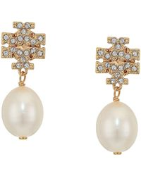 Tory Burch Kira Pave Pearl-drop Earrings, Gold - Metallic