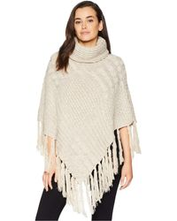 San Diego Hat Company - Bsp3544 Turtleneck Fringe Knit Poncho (beige) Women's Clothing - Lyst