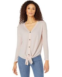 Dylan By True Grit Laguna Waffle Thermal Top - Pink