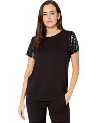 Lauren by Ralph Lauren Jersey Sequin-sleeve Shirt - Black