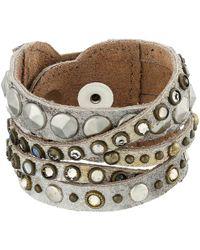 Leatherock - B513 (silver/gold) Bracelet - Lyst