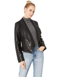 Jack BB Dakota Take The 101 Drape Front Rippled Vegan Leather Jacket - Black