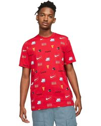 Nike - Nsw Sp Brandmarks All Over Print Tee Clothing - Lyst