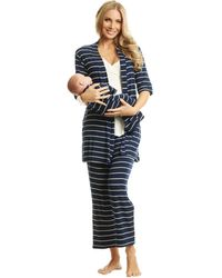 Everly Grey Analise Maternity/nursing Mommy Me Five-piece Pj Set - Blue