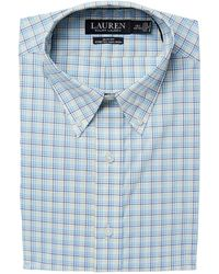 Lauren by Ralph Lauren - Stretch Slim Fit No-iron Plaid Dress Shirt (blue/navy Multi) Men's Long Sleeve Button Up - Lyst