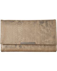 Jessica Mcclintock - Nora Metallic Snake Large Envelope Clutch (gold) Clutch Handbags - Lyst