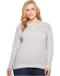 Two By Vince Camuto | Plus Size Long Sleeve Yarn-dye Stripe Cuff French Terry Sweatshirt | Lyst