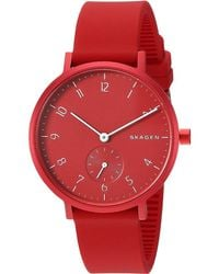 Skagen Aaren Stainless Steel & Silicone-strap Watch - Red