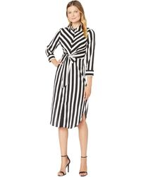 Vince Camuto Long Sleeve Bold Stripe Tie Front Shirtdress - Black