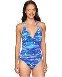 Lauren by Ralph Lauren - Calypso Halter One-piece (blue) Women's Swimsuits One Piece - Lyst