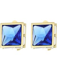 Vince Camuto Pyramid Clip Button Earrings - Blue