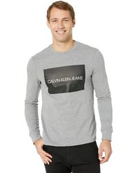 Calvin Klein - Institutional Box Long Sleeve Crew (steel Wool Heather) Men's Clothing - Lyst