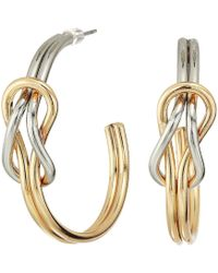 Kenneth Jay Lane - Gold And Silver Knotted Hoop Post Earrings (gold/silver) Earring - Lyst