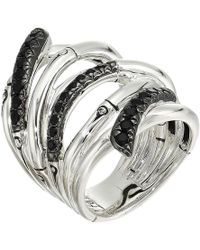 John Hardy - Bamboo Lava Extra Wide Ring With Black Sapphire - Lyst