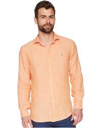 9b3a7e64956 sweden polo ralph lauren linen spread long sleeve sport shirt rose white  mens 6766c 8019f