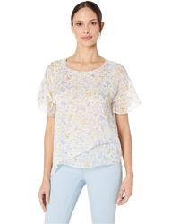 cbf90fb787a956 Cece - Short Sleeve Provence Floral Asymmetrical Blouse (soft Ecru) Women s  Blouse - Lyst