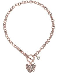 Guess - Logo Overlay On Pave Heart Charm Toggle Front Necklace (rose Gold/crystal) Necklace - Lyst