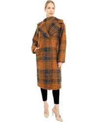 Calvin Klein Oversized Plaid Wool Coat With Button Closure - Brown