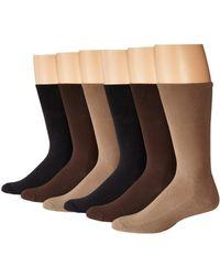 Ecco - Cushion Mercerized Cotton Sock 6-pack (black, Taupe, Brown) Men's Crew Cut Socks Shoes - Lyst