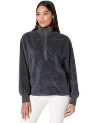 Dylan By True Grit Sherpa Modern Zip Pullover Sweatshirt - Gray