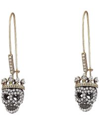 Betsey Johnson - Pavé Skull Long Drop Earrings - Lyst